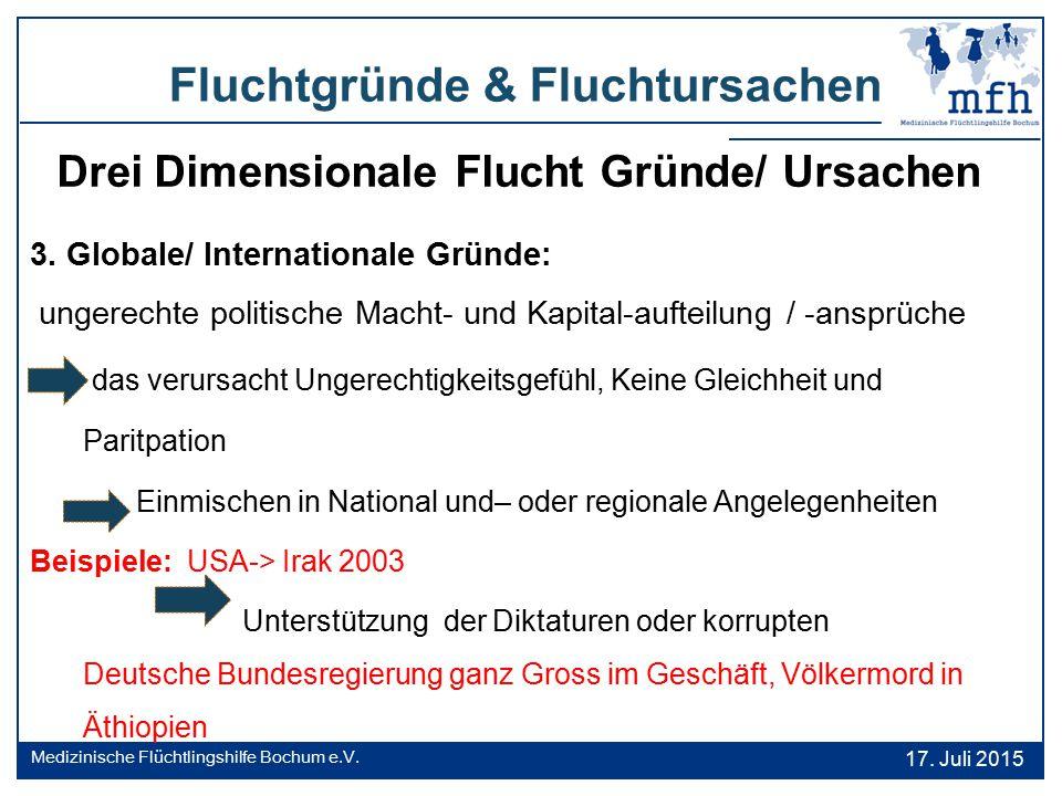 Drei Dimensionale Flucht Gründe/ Ursachen 3. Globale/ Internationale Gründe: ungerechte politische Macht- und Kapital-aufteilung / -ansprüche das veru