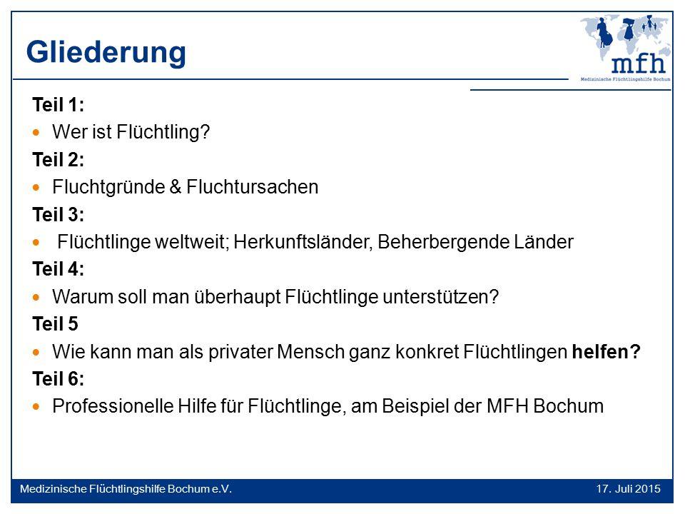 Flüchtlinge weltweit / Beherbergende Länder 17.Juli 2015 Medizinische Flüchtlingshilfe Bochum e.V.