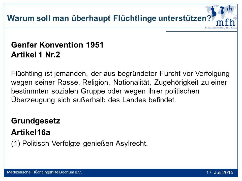 Warum soll man überhaupt Flüchtlinge unterstützen? 17. Juli 2015 Medizinische Flüchtlingshilfe Bochum e.V. Genfer Konvention 1951 Artikel 1 Nr.2 Flüch