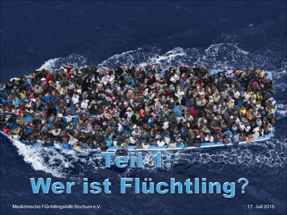Medizinische Flüchtlingshilfe Bochum 17.Juli 2015 Medizinische Flüchtlingshilfe Bochum e.V.