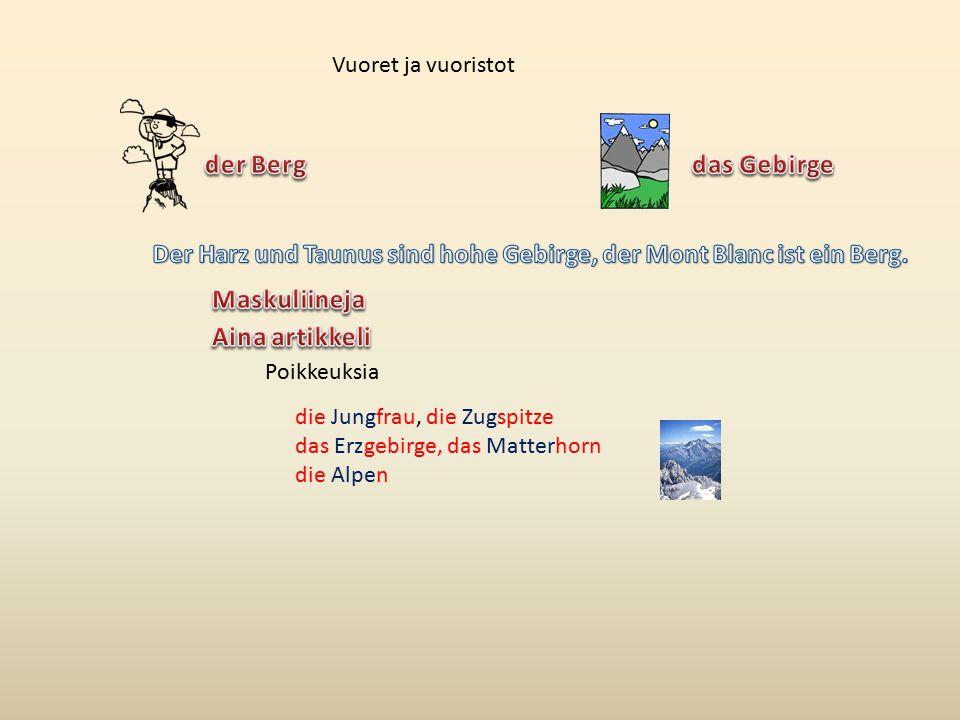 Vuoret ja vuoristot Poikkeuksia die Jungfrau, die Zugspitze das Erzgebirge, das Matterhorn die Alpen