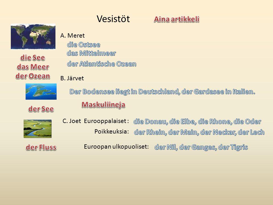 A. Meret B. Järvet C. Joet Euroopan ulkopuoliset: Poikkeuksia: Eurooppalaiset : Vesistöt