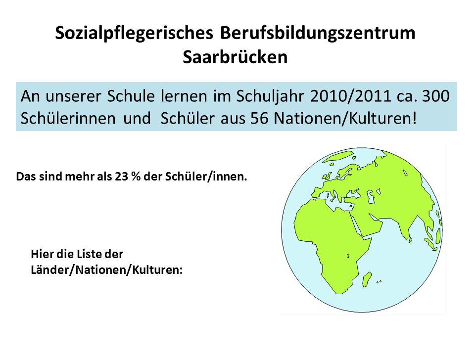 Sozialpflegerisches Berufsbildungszentrum Saarbrücken An unserer Schule lernen im Schuljahr 2010/2011 ca. 300 Schülerinnen und Schüler aus 56 Nationen