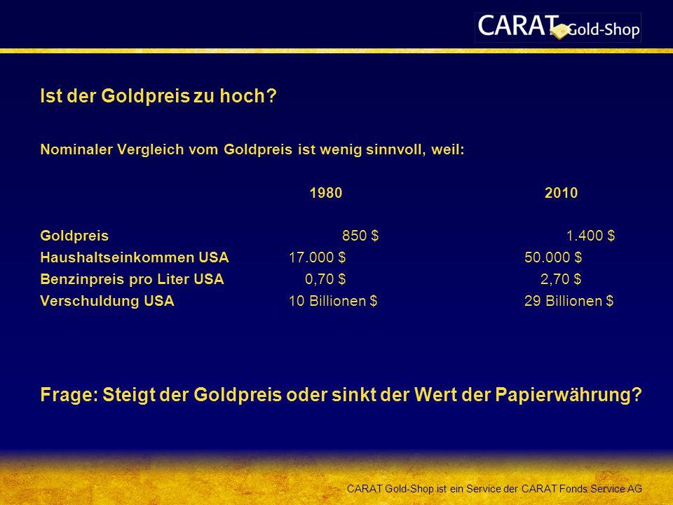 CARAT Gold-Shop ist ein Service der CARAT Fonds Service AG Ist der Goldpreis zu hoch? Nominaler Vergleich vom Goldpreis ist wenig sinnvoll, weil: 1980
