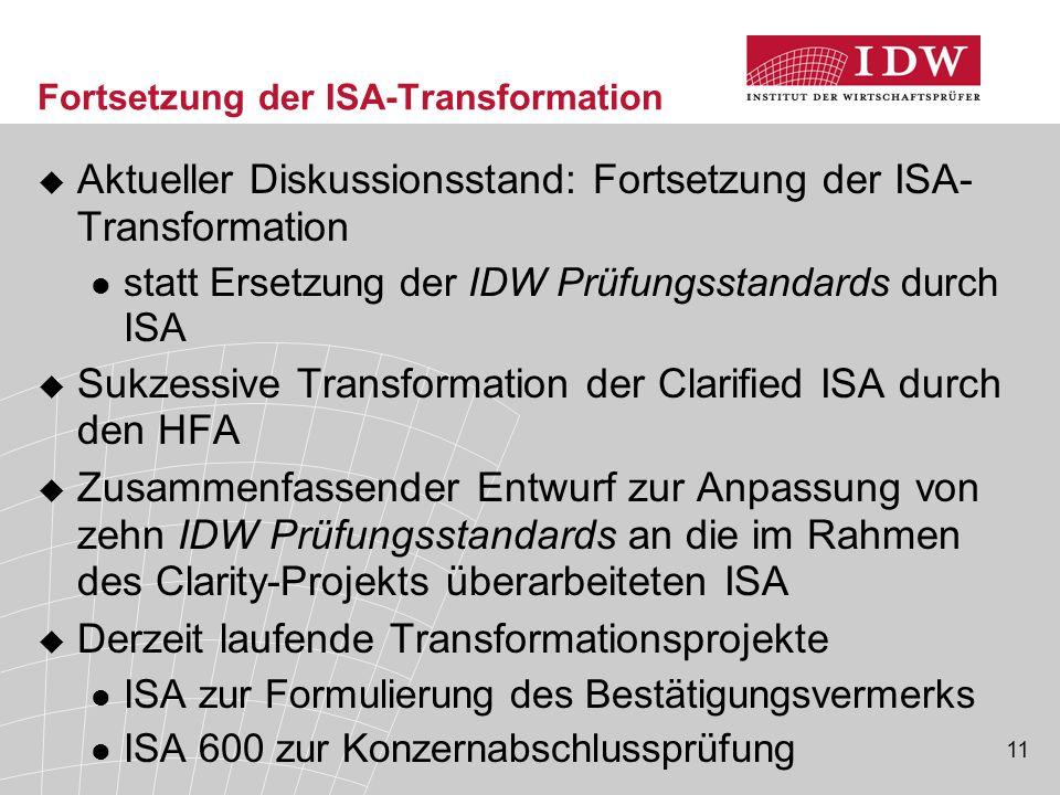 11 Fortsetzung der ISA-Transformation  Aktueller Diskussionsstand: Fortsetzung der ISA- Transformation statt Ersetzung der IDW Prüfungsstandards durch ISA  Sukzessive Transformation der Clarified ISA durch den HFA  Zusammenfassender Entwurf zur Anpassung von zehn IDW Prüfungsstandards an die im Rahmen des Clarity-Projekts überarbeiteten ISA  Derzeit laufende Transformationsprojekte ISA zur Formulierung des Bestätigungsvermerks ISA 600 zur Konzernabschlussprüfung