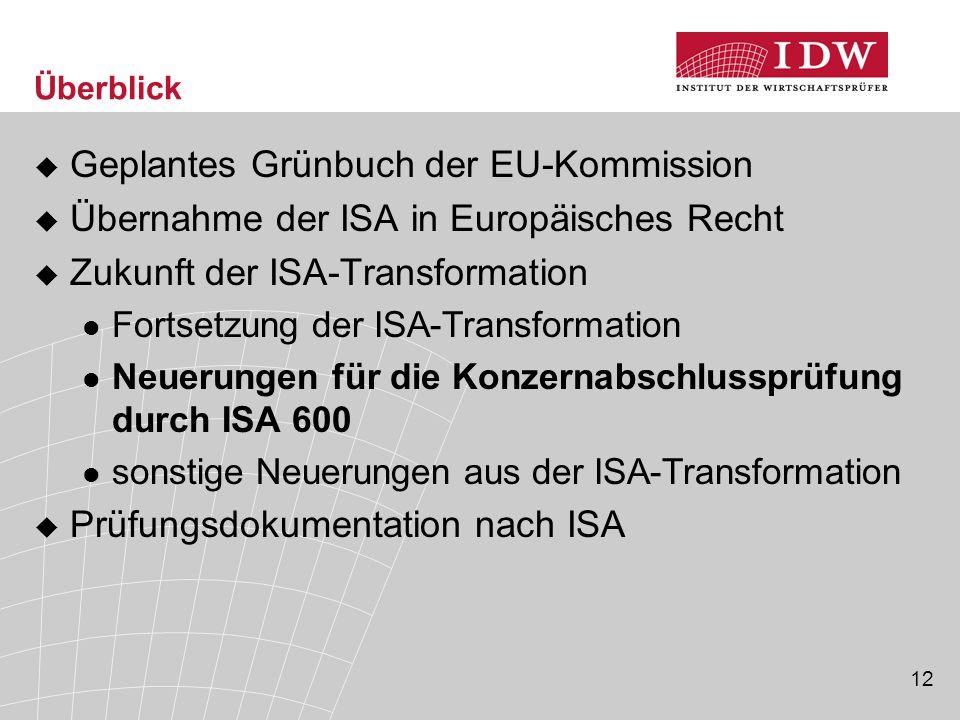 13 ISA 600: Anwendungsbereich  Prüfung von Konzernabschlüssen  Andere Prüfungen, bei denen Teilbereichsprüfer einbezogen sind, d.h.