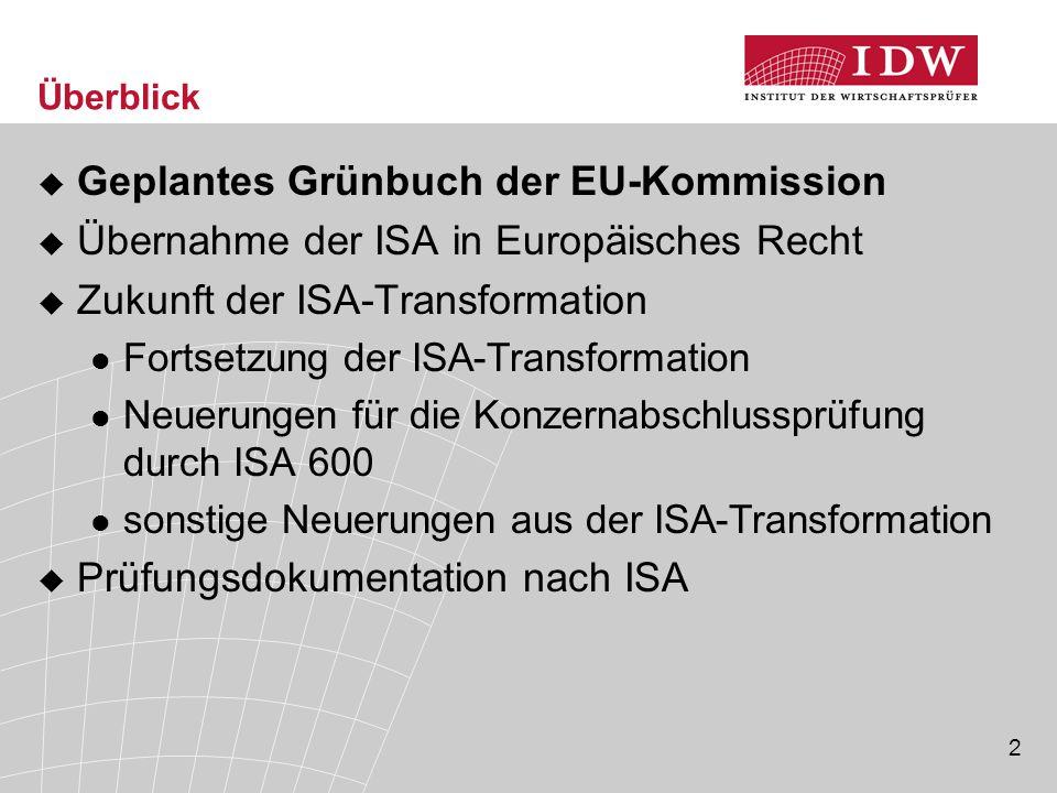 2 Überblick  Geplantes Grünbuch der EU-Kommission  Übernahme der ISA in Europäisches Recht  Zukunft der ISA-Transformation Fortsetzung der ISA-Transformation Neuerungen für die Konzernabschlussprüfung durch ISA 600 sonstige Neuerungen aus der ISA-Transformation  Prüfungsdokumentation nach ISA