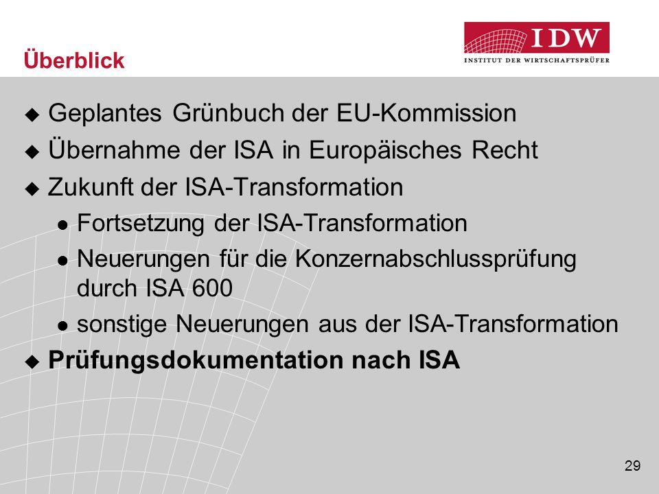 29 Überblick  Geplantes Grünbuch der EU-Kommission  Übernahme der ISA in Europäisches Recht  Zukunft der ISA-Transformation Fortsetzung der ISA-Transformation Neuerungen für die Konzernabschlussprüfung durch ISA 600 sonstige Neuerungen aus der ISA-Transformation  Prüfungsdokumentation nach ISA