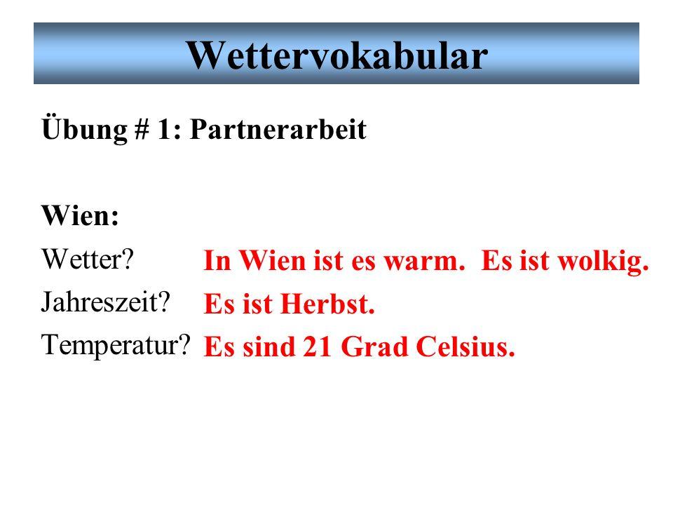 Wettervokabular Übung # 1: Partnerarbeit Wien: Wetter.