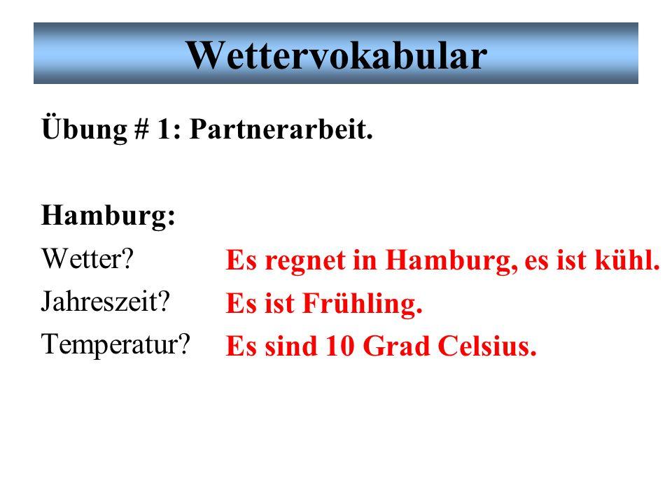 Wettervokabular Übung # 1: Partnerarbeit.Hamburg: Wetter.