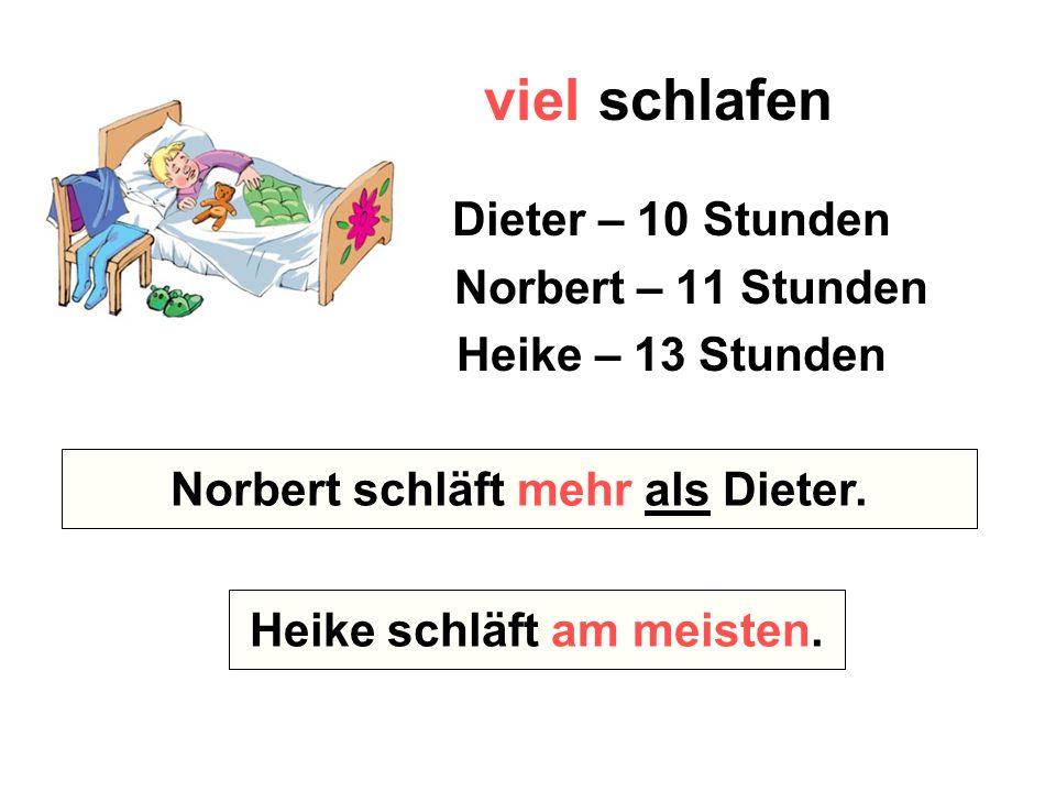 viel schlafen Dieter – 10 Stunden Norbert – 11 Stunden Heike – 13 Stunden Wer schläft mehr – Norbert oder Dieter? Wer schläft am meisten? Norbert schl