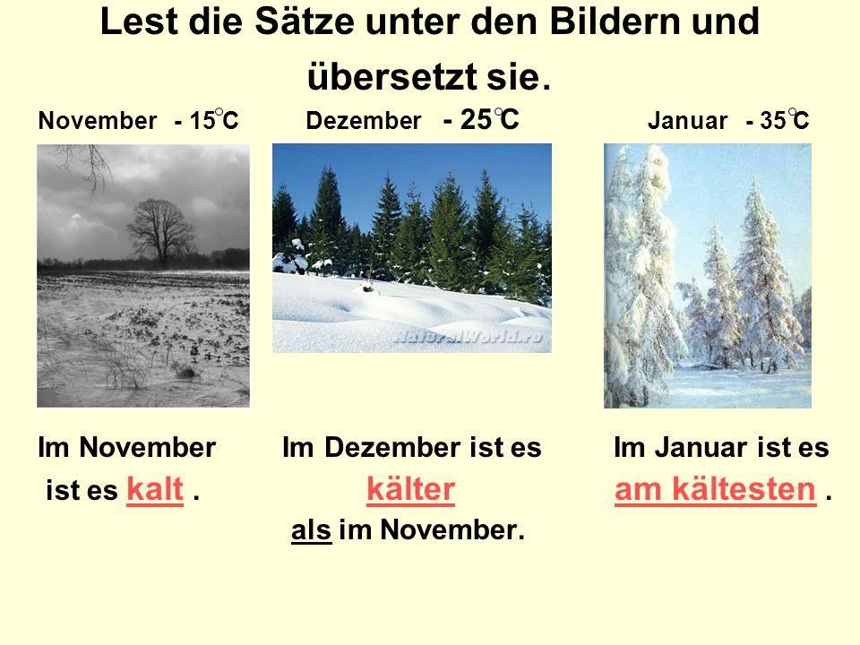 Lest die Sätze unter den Bildern und übersetzt sie. November - 15 C Dezember - 25 C Januar - 35 C Im November Im Dezember ist es Im Januar ist es ist
