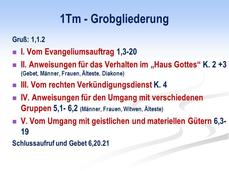 1Tm - Grobgliederung Gruß: 1,1.2 I.Vom Evangeliumsauftrag 1,3-20 II.