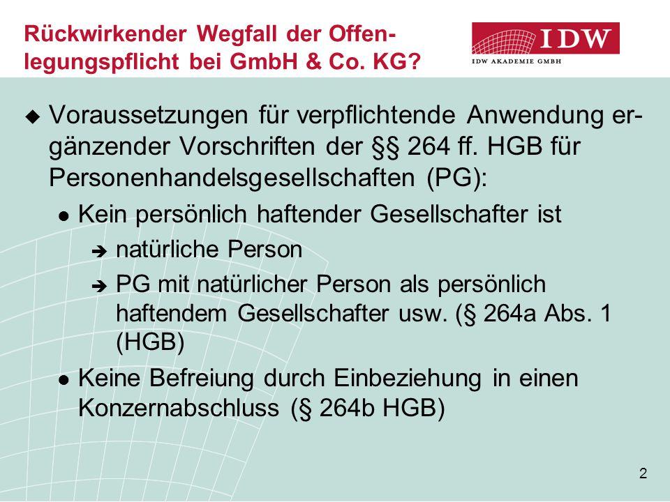 3 Rückwirkender Wegfall der Offen- legungspflicht bei GmbH & Co.