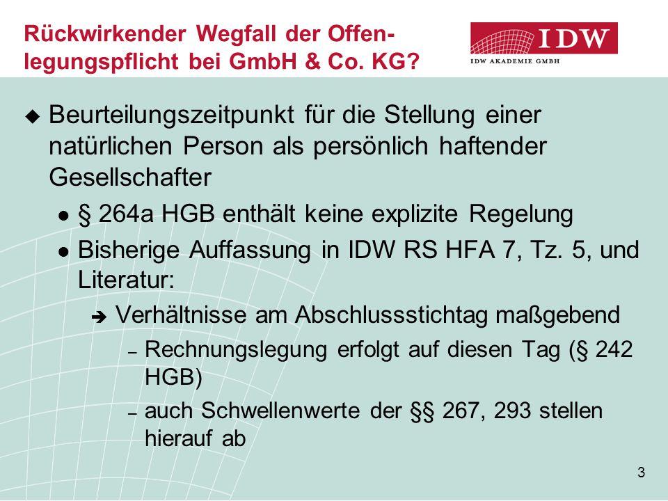 4 Rückwirkender Wegfall der Offen- legungspflicht bei GmbH & Co.