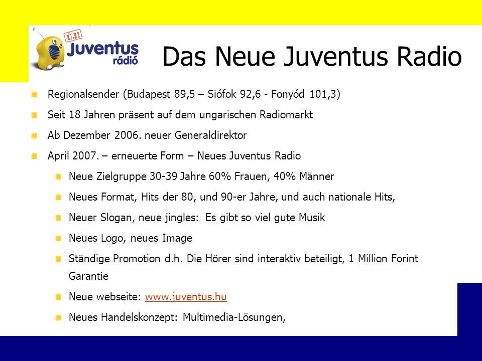 Das Neue Juventus Radio Regionalsender (Budapest 89,5 – Siófok 92,6 - Fonyód 101,3) Seit 18 Jahren präsent auf dem ungarischen Radiomarkt Ab Dezember 2006.