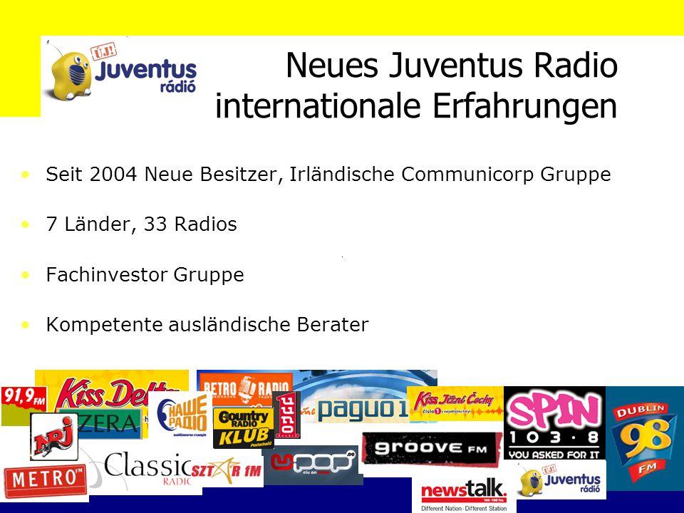 Neues Juventus Radio internationale Erfahrungen Seit 2004 Neue Besitzer, Irländische Communicorp Gruppe 7 Länder, 33 Radios Fachinvestor Gruppe Kompetente ausländische Berater