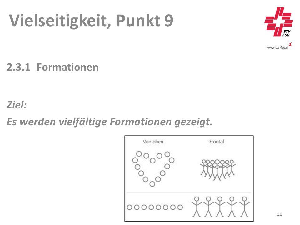 Vielseitigkeit, Punkt 9 44 2.3.1Formationen Ziel: Es werden vielfältige Formationen gezeigt.