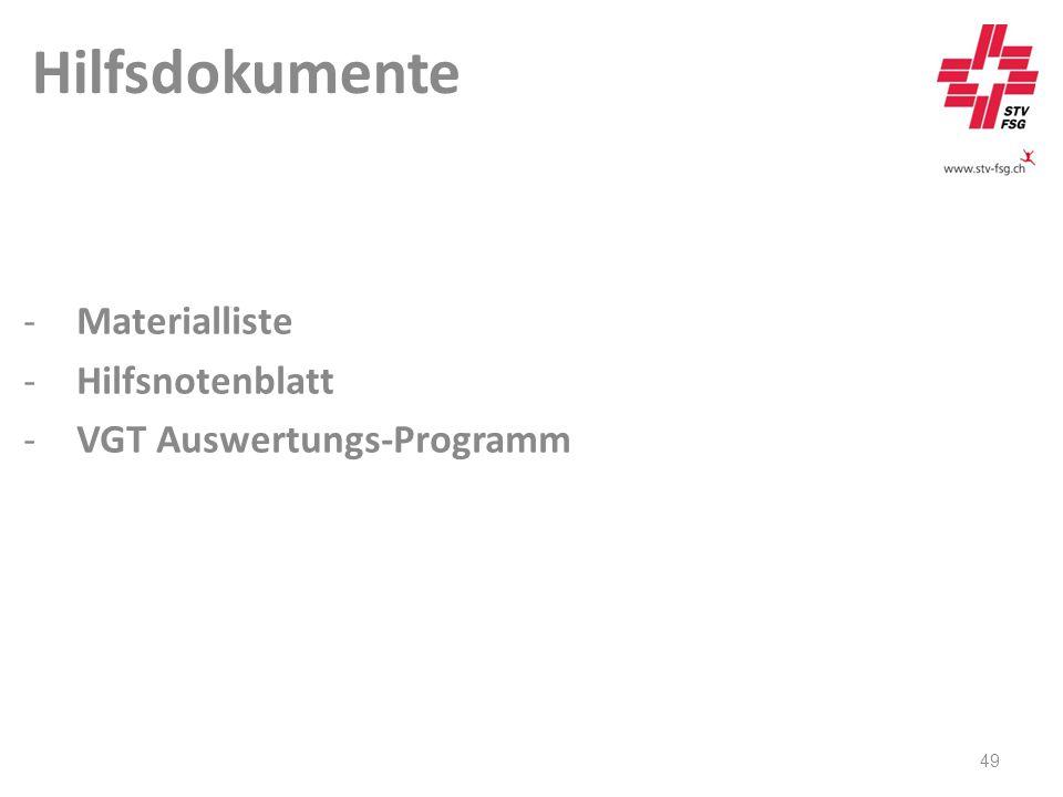 Hilfsdokumente 49 -Materialliste -Hilfsnotenblatt -VGT Auswertungs-Programm