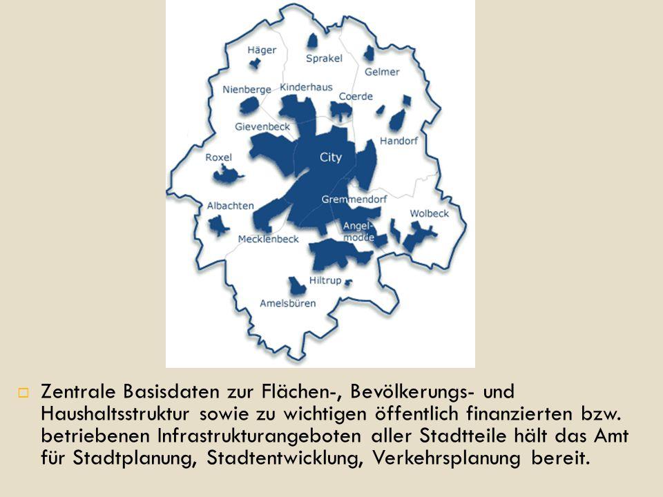  Zentrale Basisdaten zur Flächen-, Bevölkerungs- und Haushaltsstruktur sowie zu wichtigen öffentlich finanzierten bzw.