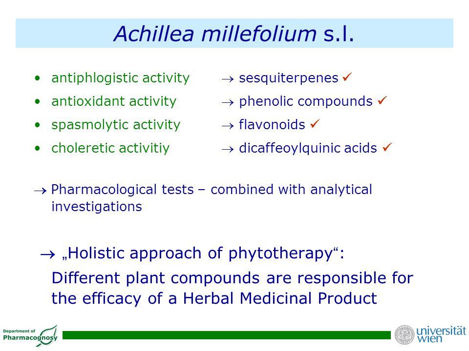 Achillea millefolium s.l. antiphlogistic activity sesquiterpenes antioxidant activity phenolic compounds spasmolytic activity flavonoids choleretic