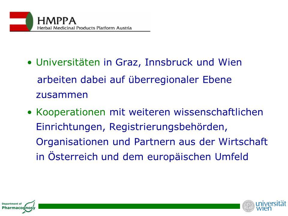 Universitäten in Graz, Innsbruck und Wien arbeiten dabei auf überregionaler Ebene zusammen Kooperationen mit weiteren wissenschaftlichen Einrichtungen