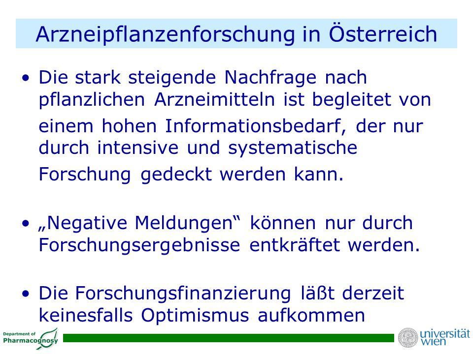 Arzneipflanzenforschung in Österreich Die stark steigende Nachfrage nach pflanzlichen Arzneimitteln ist begleitet von einem hohen Informationsbedarf,