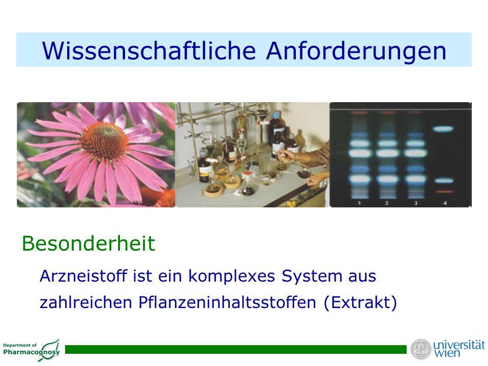 Wissenschaftliche Anforderungen Besonderheit Arzneistoff ist ein komplexes System aus zahlreichen Pflanzeninhaltsstoffen (Extrakt)
