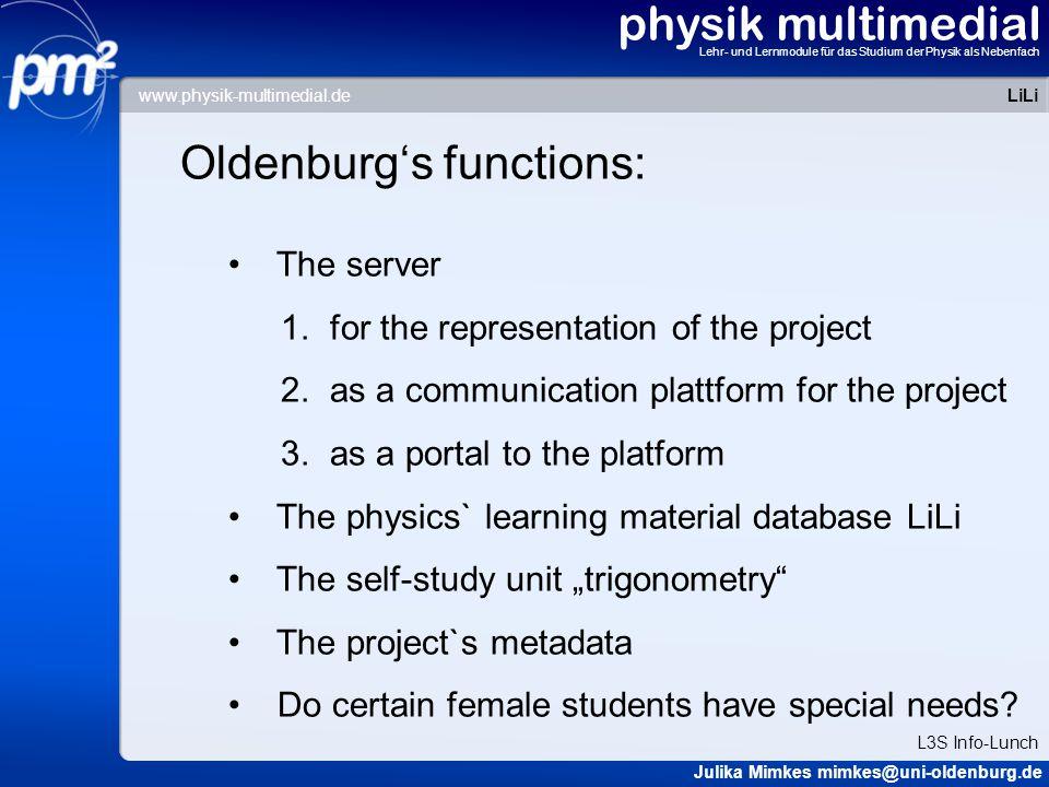physik multimedial Lehr- und Lernmodule für das Studium der Physik als Nebenfach screenie homepage LiLi Julika Mimkes mimkes@uni-oldenburg.de L3S Info-Lunch www.physik-multimedial.de