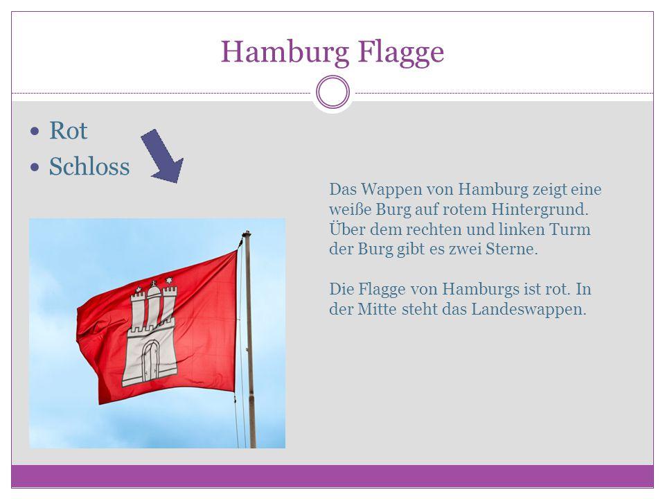 Hamburg Flagge Rot Schloss Das Wappen von Hamburg zeigt eine weiße Burg auf rotem Hintergrund. Über dem rechten und linken Turm der Burg gibt es zwei