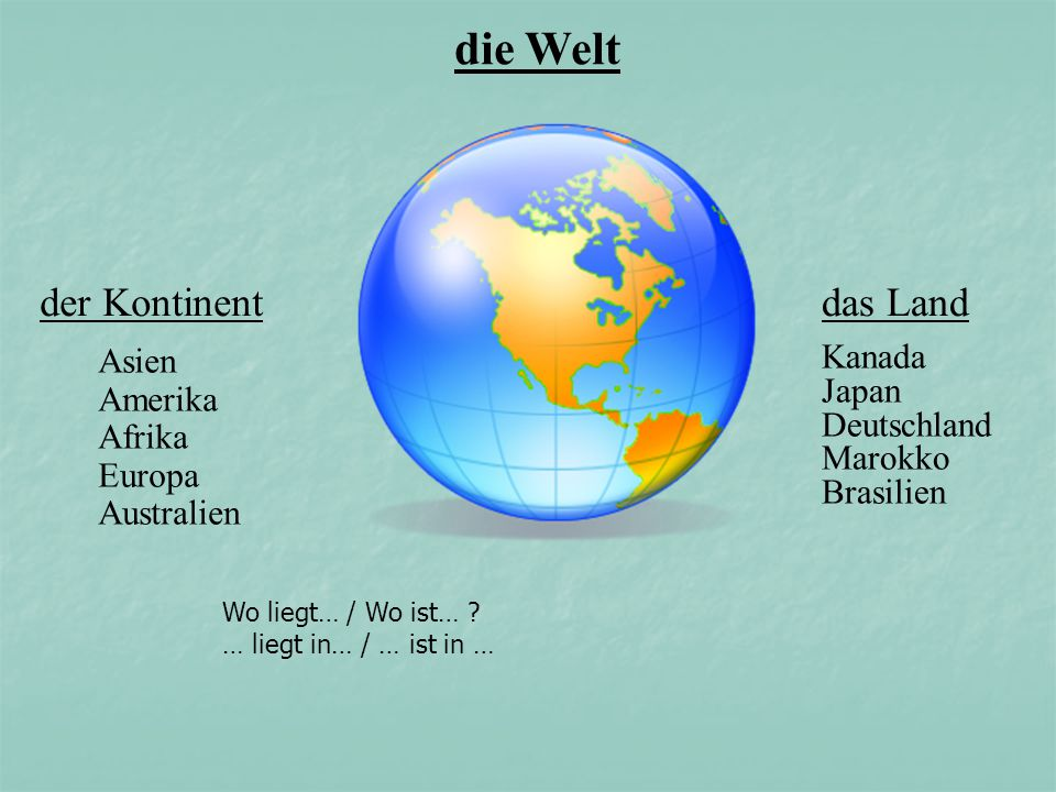 die Welt der Kontinent Asien Amerika Afrika Europa Australien das Land Kanada Japan Deutschland Marokko Brasilien Wo liegt… / Wo ist… ? … liegt in… /