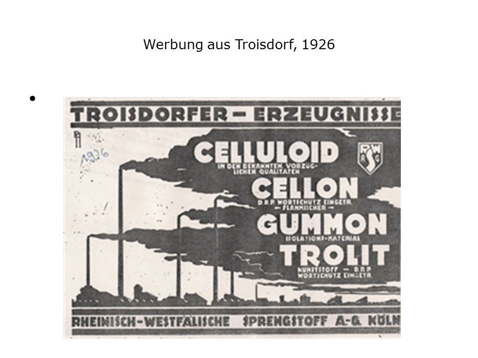 Werbung aus Troisdorf, 1926