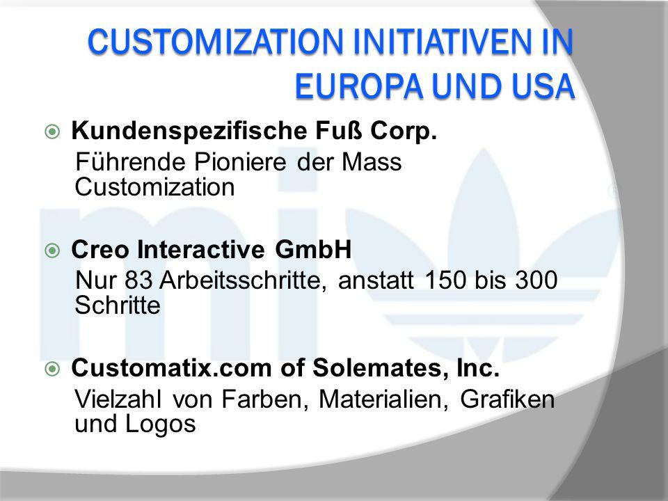 CUSTOMIZATION INITIATIVEN IN EUROPA UND USA  Kundenspezifische Fuß Corp. Führende Pioniere der Mass Customization  Creo Interactive GmbH Nur 83 Arbe