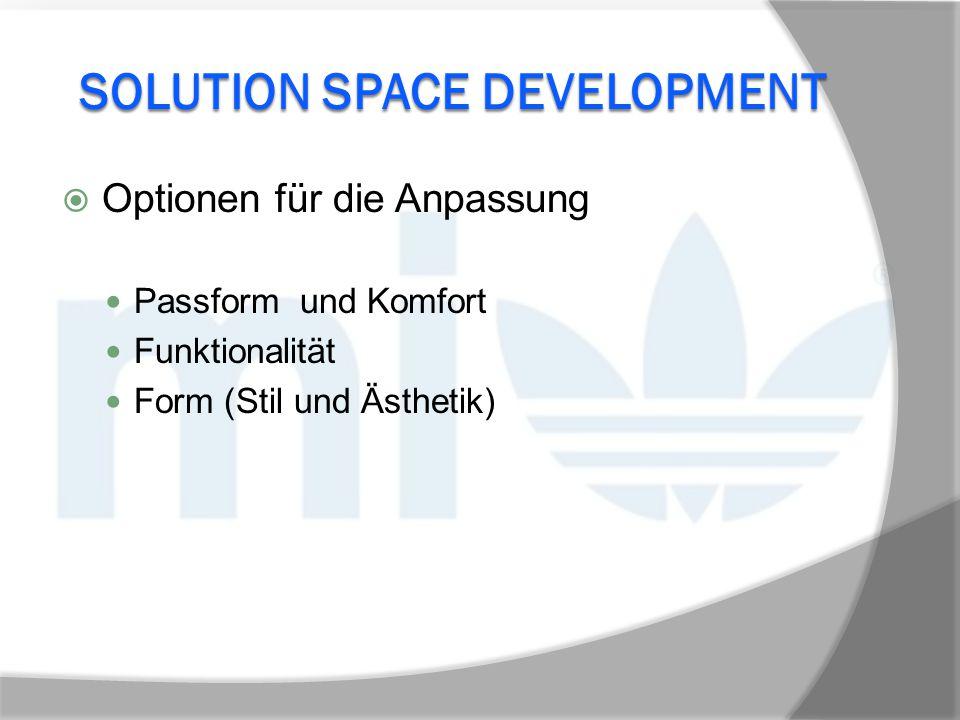 SOLUTION SPACE DEVELOPMENT  Optionen für die Anpassung Passform und Komfort Funktionalität Form (Stil und Ästhetik)