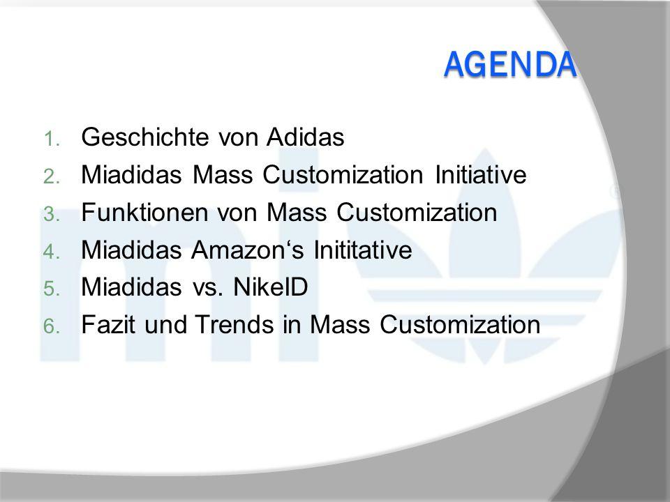 AGENDA 1. Geschichte von Adidas 2. Miadidas Mass Customization Initiative 3. Funktionen von Mass Customization 4. Miadidas Amazon's Inititative 5. Mia