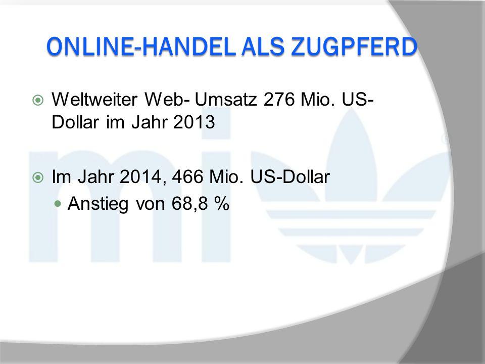 ONLINE-HANDEL ALS ZUGPFERD  Weltweiter Web- Umsatz 276 Mio. US- Dollar im Jahr 2013  Im Jahr 2014, 466 Mio. US-Dollar Anstieg von 68,8 %