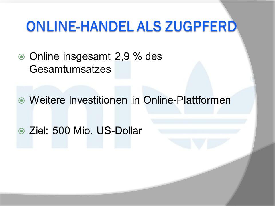 ONLINE-HANDEL ALS ZUGPFERD  Online insgesamt 2,9 % des Gesamtumsatzes  Weitere Investitionen in Online-Plattformen  Ziel: 500 Mio. US-Dollar