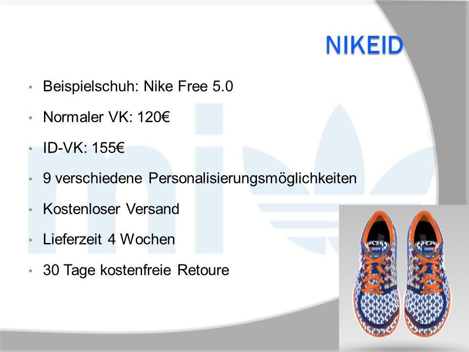 NIKEID Beispielschuh: Nike Free 5.0 Normaler VK: 120€ ID-VK: 155€ 9 verschiedene Personalisierungsmöglichkeiten Kostenloser Versand Lieferzeit 4 Woche