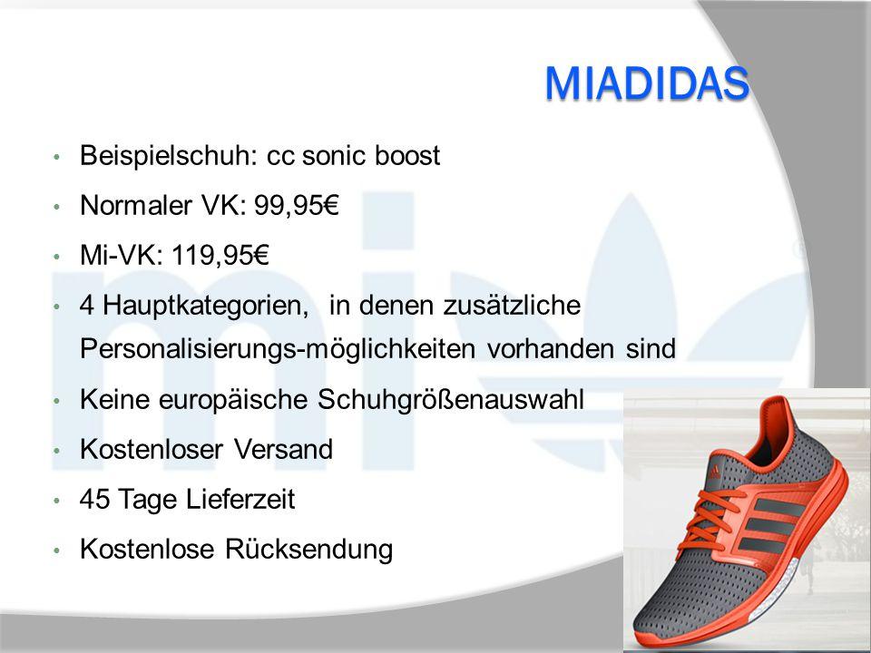 MIADIDAS Beispielschuh: cc sonic boost Normaler VK: 99,95€ Mi-VK: 119,95€ 4 Hauptkategorien, in denen zusätzliche Personalisierungs-möglichkeiten vorh