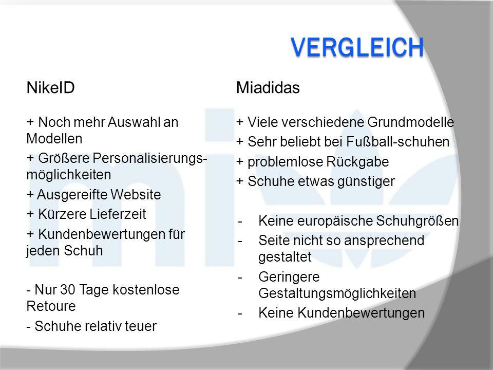 VERGLEICH + Noch mehr Auswahl an Modellen + Größere Personalisierungs- möglichkeiten + Ausgereifte Website + Kürzere Lieferzeit + Kundenbewertungen fü