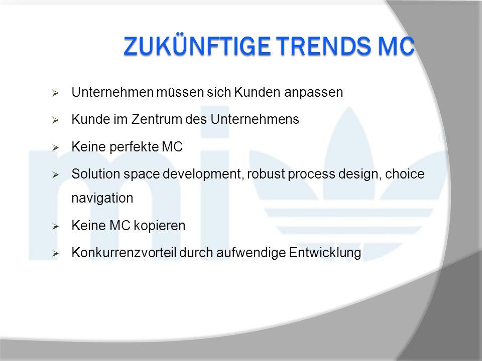 ZUKÜNFTIGE TRENDS MC  Unternehmen müssen sich Kunden anpassen  Kunde im Zentrum des Unternehmens  Keine perfekte MC  Solution space development, r