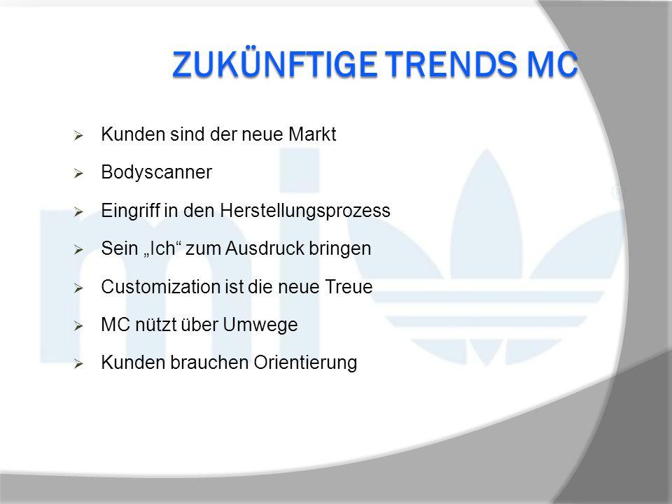 """ZUKÜNFTIGE TRENDS MC  Kunden sind der neue Markt  Bodyscanner  Eingriff in den Herstellungsprozess  Sein """"Ich"""" zum Ausdruck bringen  Customizatio"""