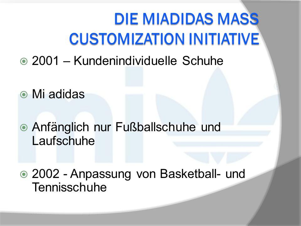 DIE MIADIDAS MASS CUSTOMIZATION INITIATIVE  2001 – Kundenindividuelle Schuhe  Mi adidas  Anfänglich nur Fußballschuhe und Laufschuhe  2002 - Anpas