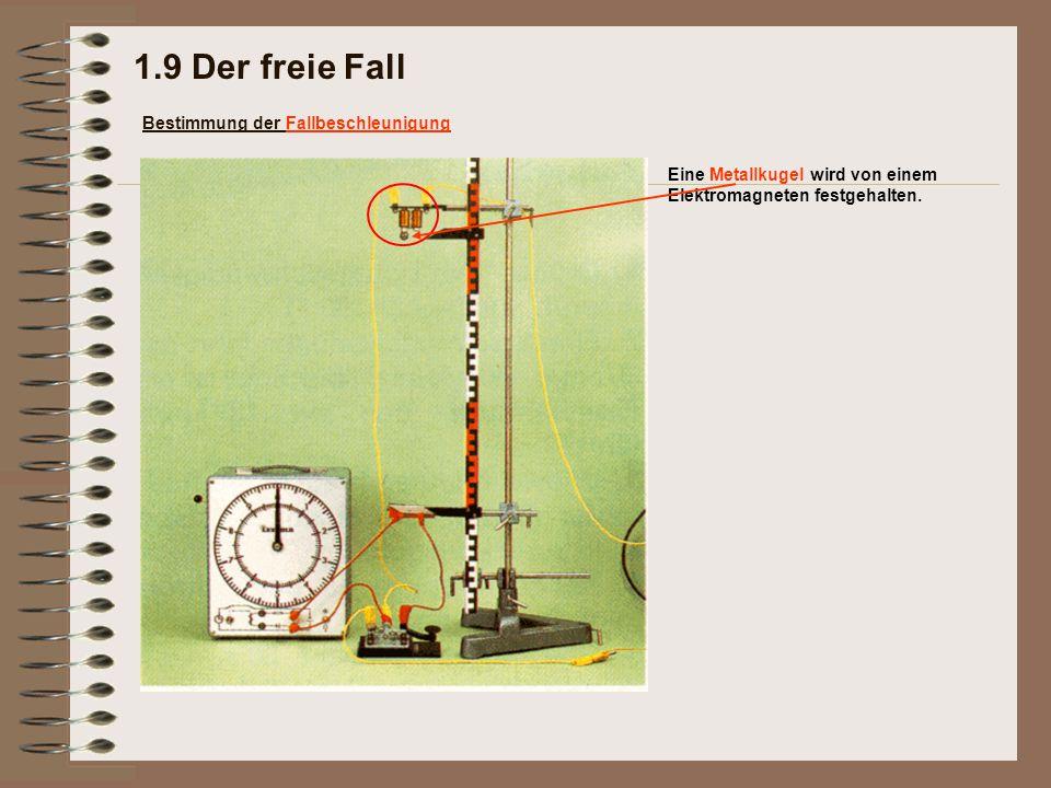Eine Metallkugel wird von einem Elektromagneten festgehalten. 1.9 Der freie Fall Bestimmung der Fallbeschleunigung