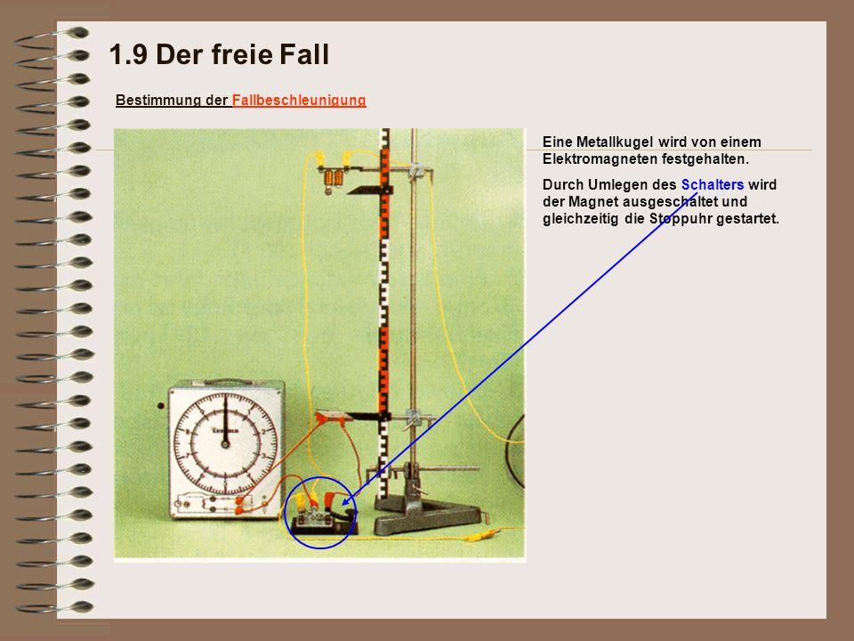 Eine Metallkugel wird von einem Elektromagneten festgehalten. 1.9 Der freie Fall Bestimmung der Fallbeschleunigung Durch Umlegen des Schalters wird de