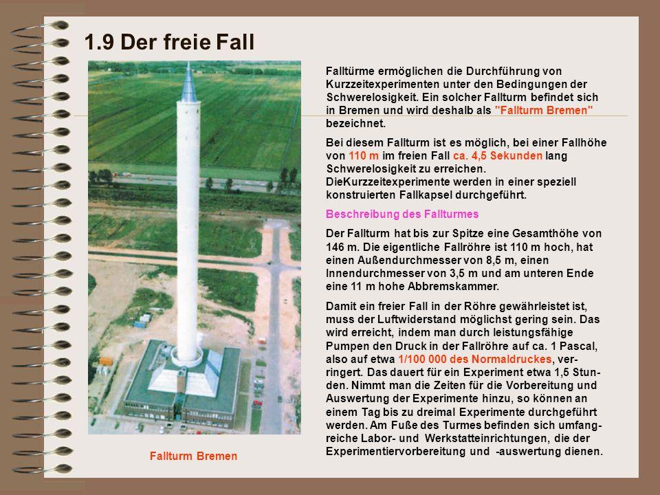 Beschreibung des Fallturmes Der Fallturm hat bis zur Spitze eine Gesamthöhe von 146 m. Die eigentliche Fallröhre ist 110 m hoch, hat einen Außendurchm