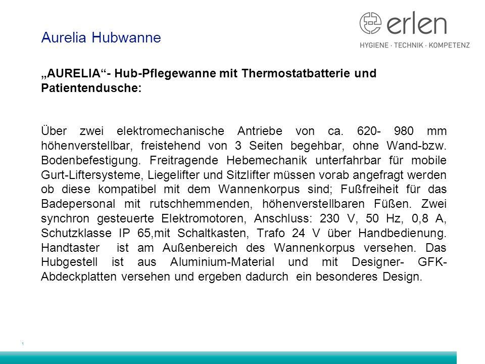 """1 Aurelia Hubwanne """"AURELIA - Hub-Pflegewanne mit Thermostatbatterie und Patientendusche: Über zwei elektromechanische Antriebe von ca."""