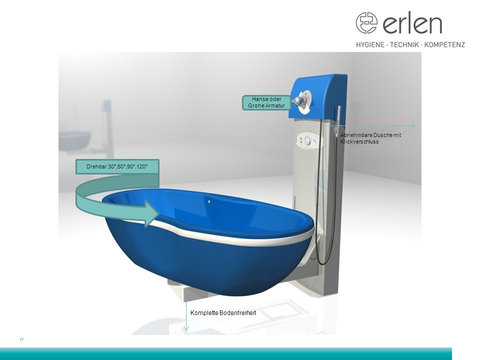 17 Abnehmbare Dusche mit Klickverschluss Komplette Bodenfreiheit Hanse oder Grohe Armatur Drehbar 30°,60°,90°,120°
