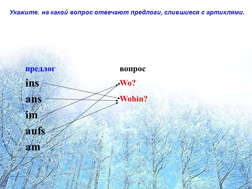 Впишите недостающие артикли в сочетания, отвечающие на вопрос wo.
