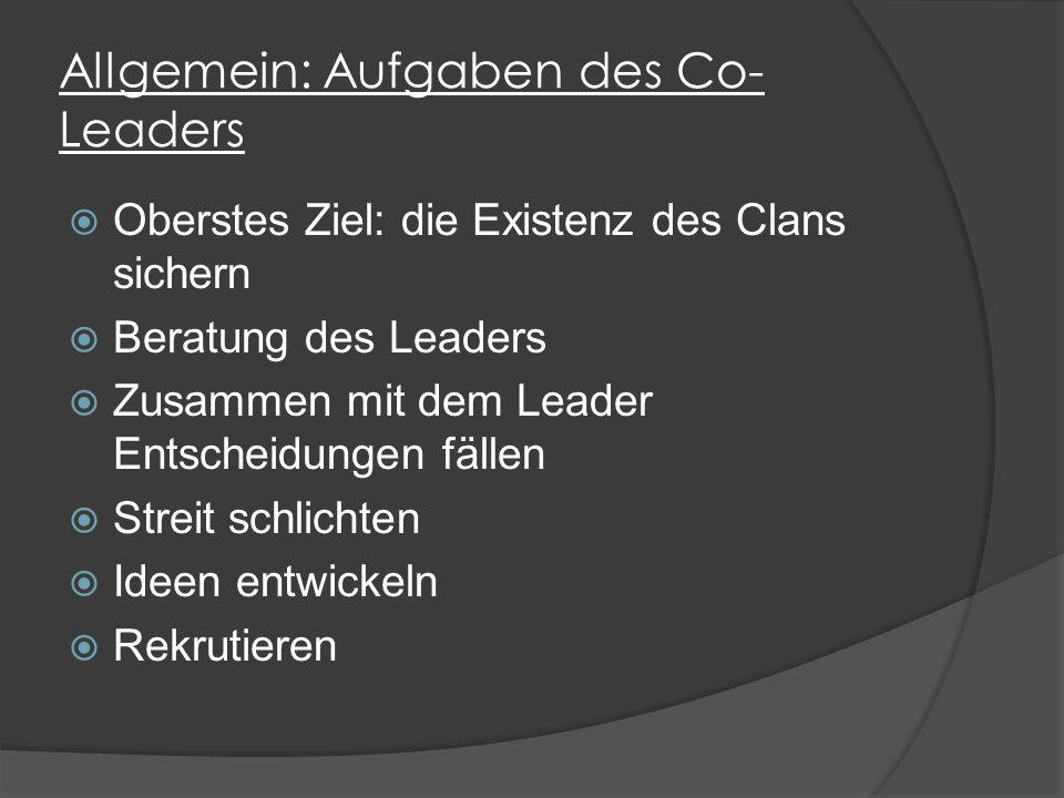 Allgemein: Aufgaben des Co- Leaders  Oberstes Ziel: die Existenz des Clans sichern  Beratung des Leaders  Zusammen mit dem Leader Entscheidungen fällen  Streit schlichten  Ideen entwickeln  Rekrutieren